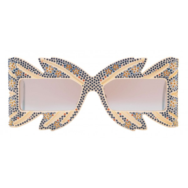 Gucci - Occhiale da Sole a Mascherina con Cristalli Swarovski in Edizione Limitata - Dettagli Rétro - Gucci Eyewear