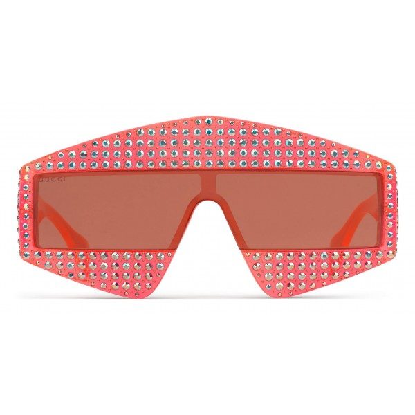 Gucci - Rectangular Acetate Sunglasses with Crystals - Red - Gucci Eyewear