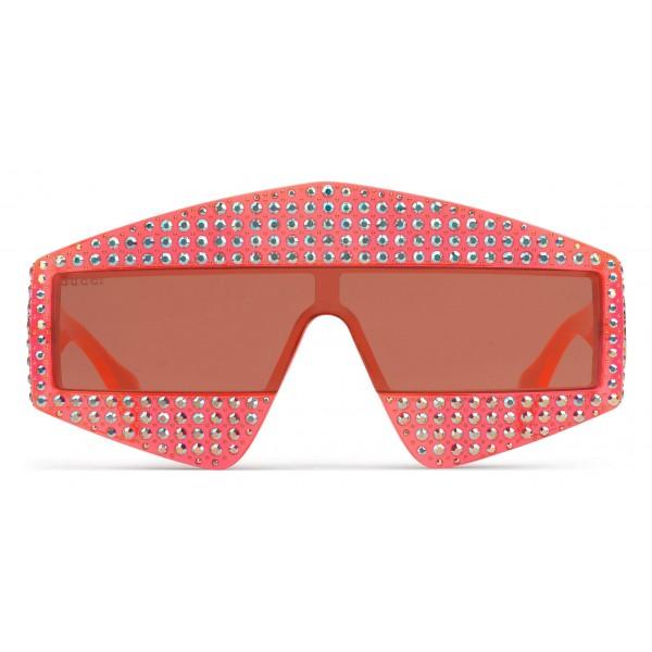 fd6151e36646e Gucci - Rectangular Acetate Sunglasses with Crystals - Red - Gucci Eyewear  - Avvenice
