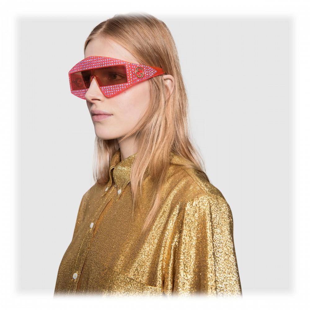 af53617fee7a1 ... Gucci - Rectangular Acetate Sunglasses with Crystals - Red - Gucci  Eyewear