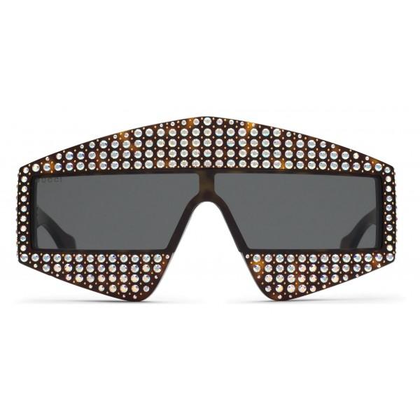 Gucci - Occhiale da Sole Rettangolari in Acetato con Cristalli - Nero - Gucci Eyewear