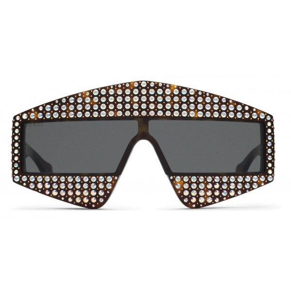 Gucci - Rectangular Acetate Sunglasses with Crystals - Black - Gucci Eyewear