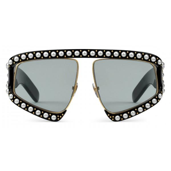 Gucci - Occhiale da Sole Rettangolari in Acetato con Perle - Nero - Gucci Eyewear