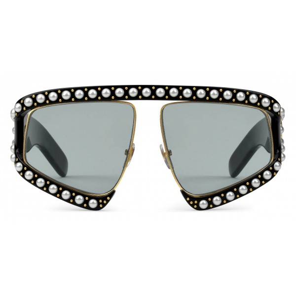 84209b10aea Gucci - Rectangular Acetate Sunglasses with Pearls - Black - Gucci Eyewear