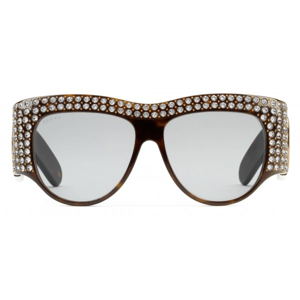 Gucci - Occhiale da Sole Oversize in Acetato con Cristalli - Tartaruga - Gucci Eyewear