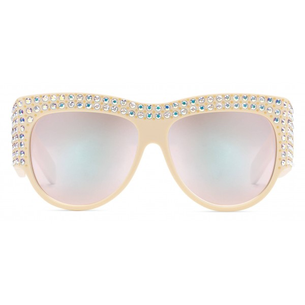 Gucci - Acetate Oversized Sunglasses with Crystals - White - Gucci Eyewear