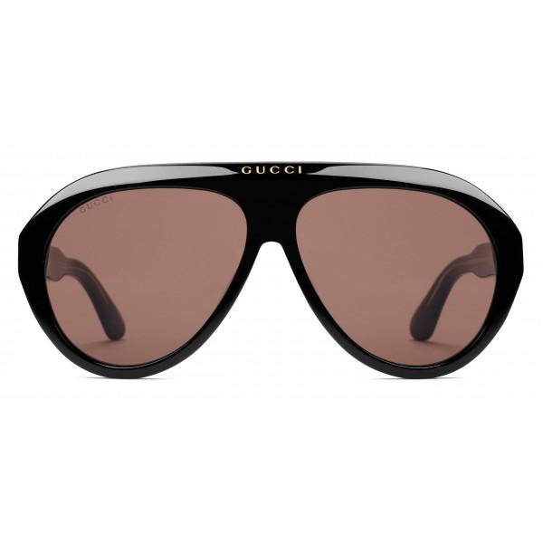 Gucci - Occhiali da Sole Navigator con Doppia G - Nero - Gucci Eyewear