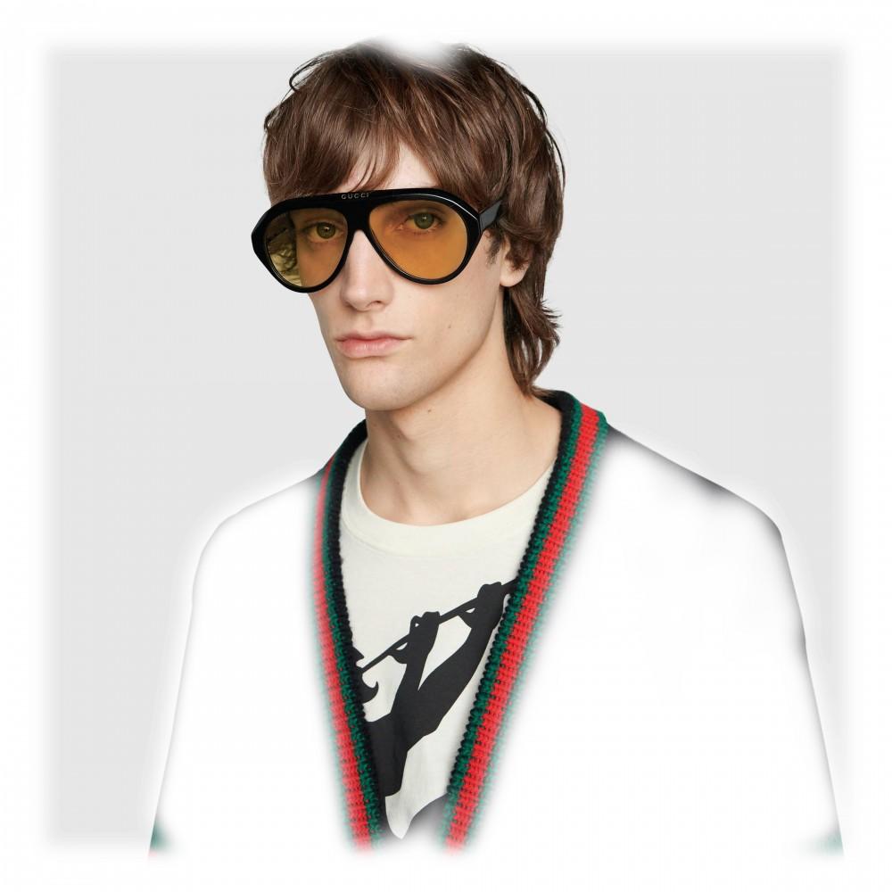 13d586eea3e6c ... Gucci - Navigator Sunglasses with Double G - Black Yellow - Gucci  Eyewear
