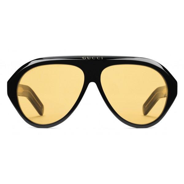Gucci - Navigator Sunglasses with Double G - Black Yellow - Gucci Eyewear