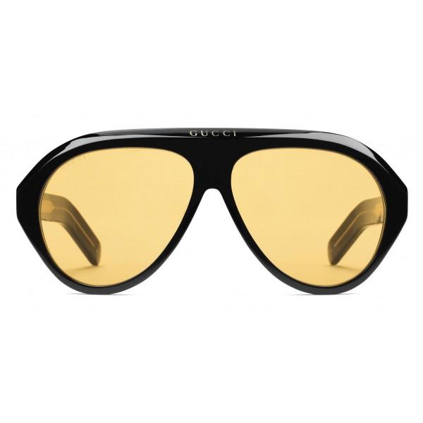 Gucci - Occhiali da Sole Navigator con Doppia G - Nero Giallo - Gucci Eyewear