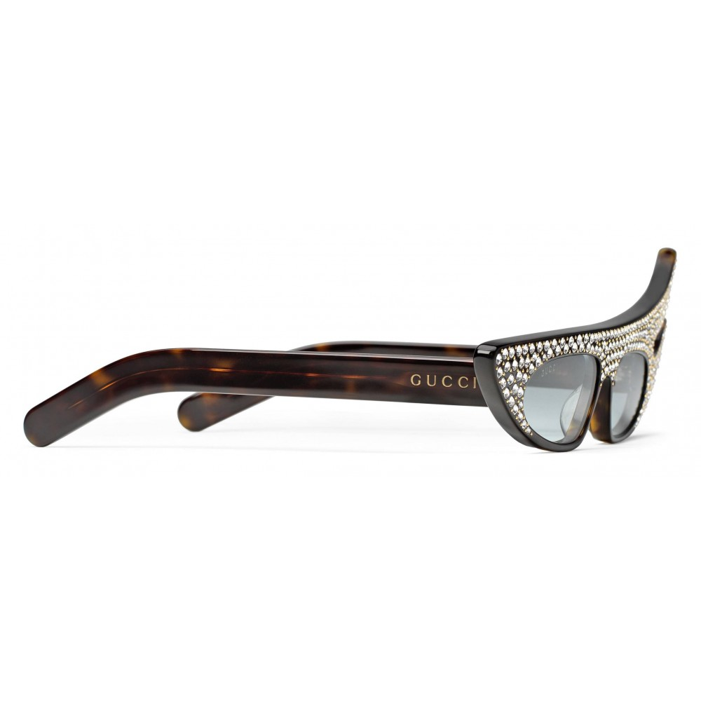3d15a7b0aad1f ... Gucci - Rectangular Angle Acetate Sunglasses with Crystals - Turtle - Gucci  Eyewear ...