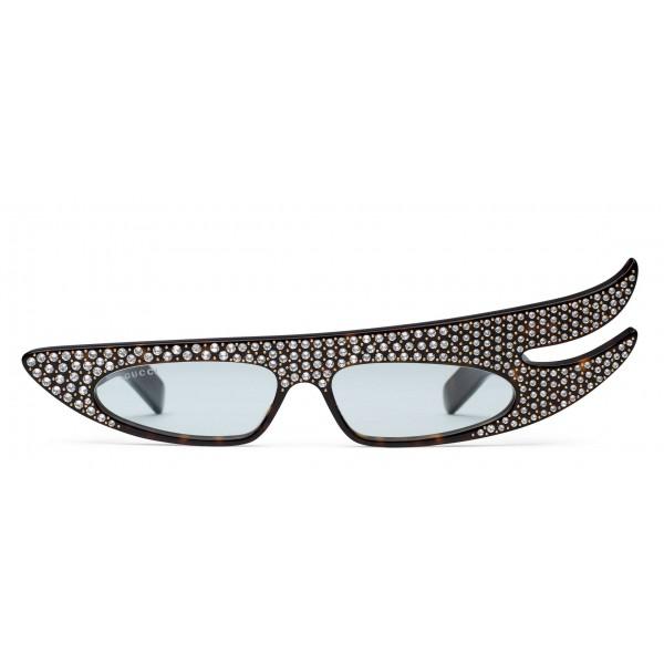 06545e49e27a3 Gucci - Rectangular Angle Acetate Sunglasses with Crystals - Turtle - Gucci  Eyewear