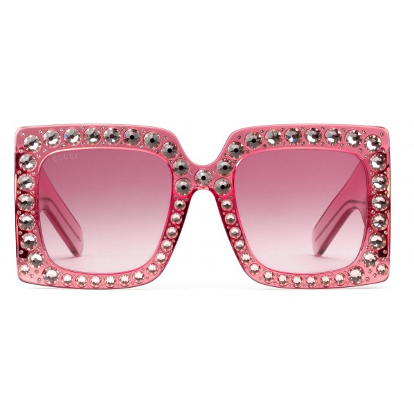 309d709a3 Gucci - Square Oversize Acetate Sunglasses - Pink with Crystals - Gucci  Eyewear - Avvenice