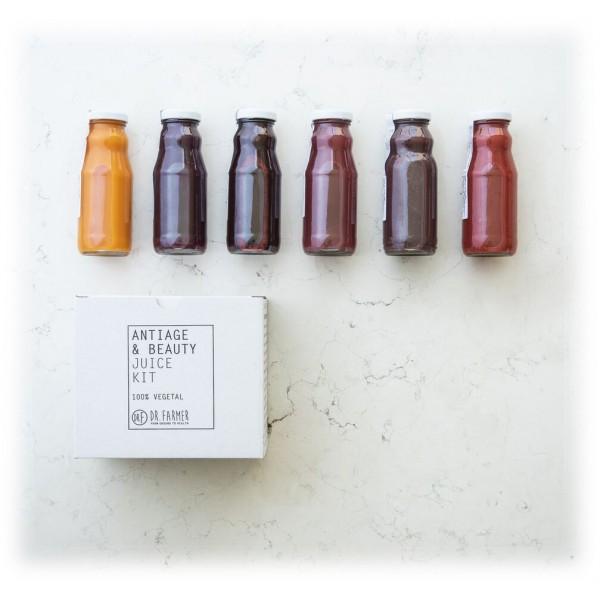 Dr. Farmer - Antiage & Beauty Juice Kit - 6 Giorni - 100 % Biologico - 100 % Italiano - 100 % Vegan - Succhi Bio