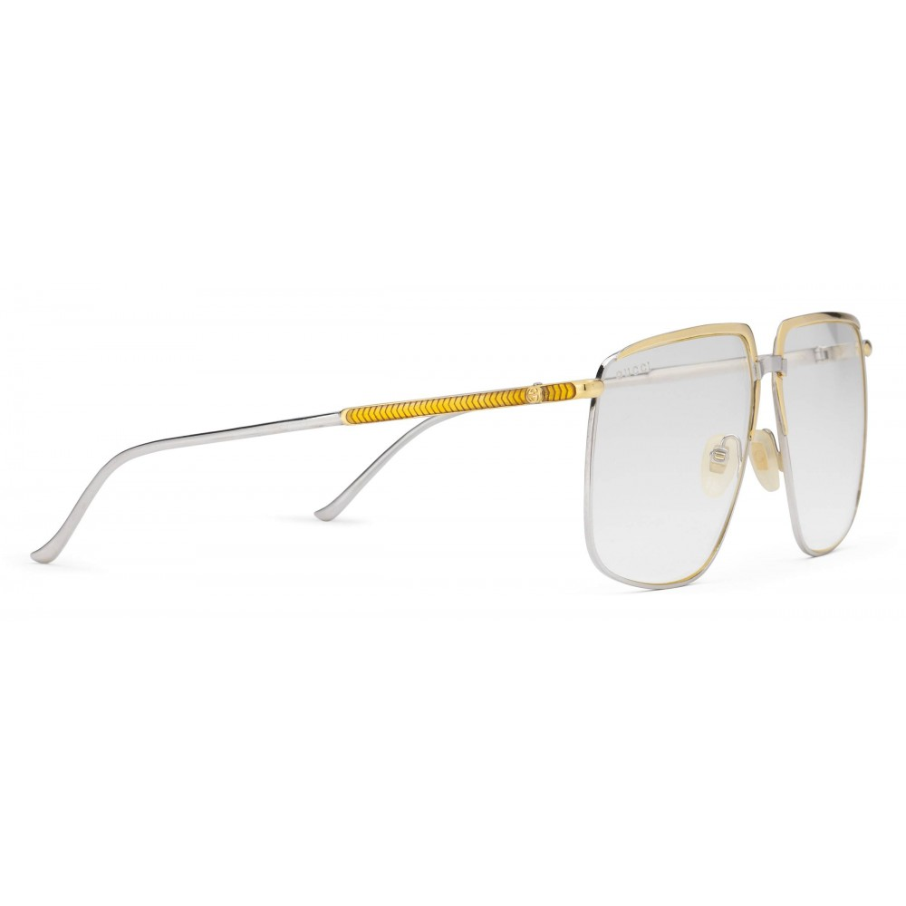 5996eab9cf5 ... Gucci - Square-Frame Metal Glasses - Silver with Gold Detail - Gucci  Eyewear