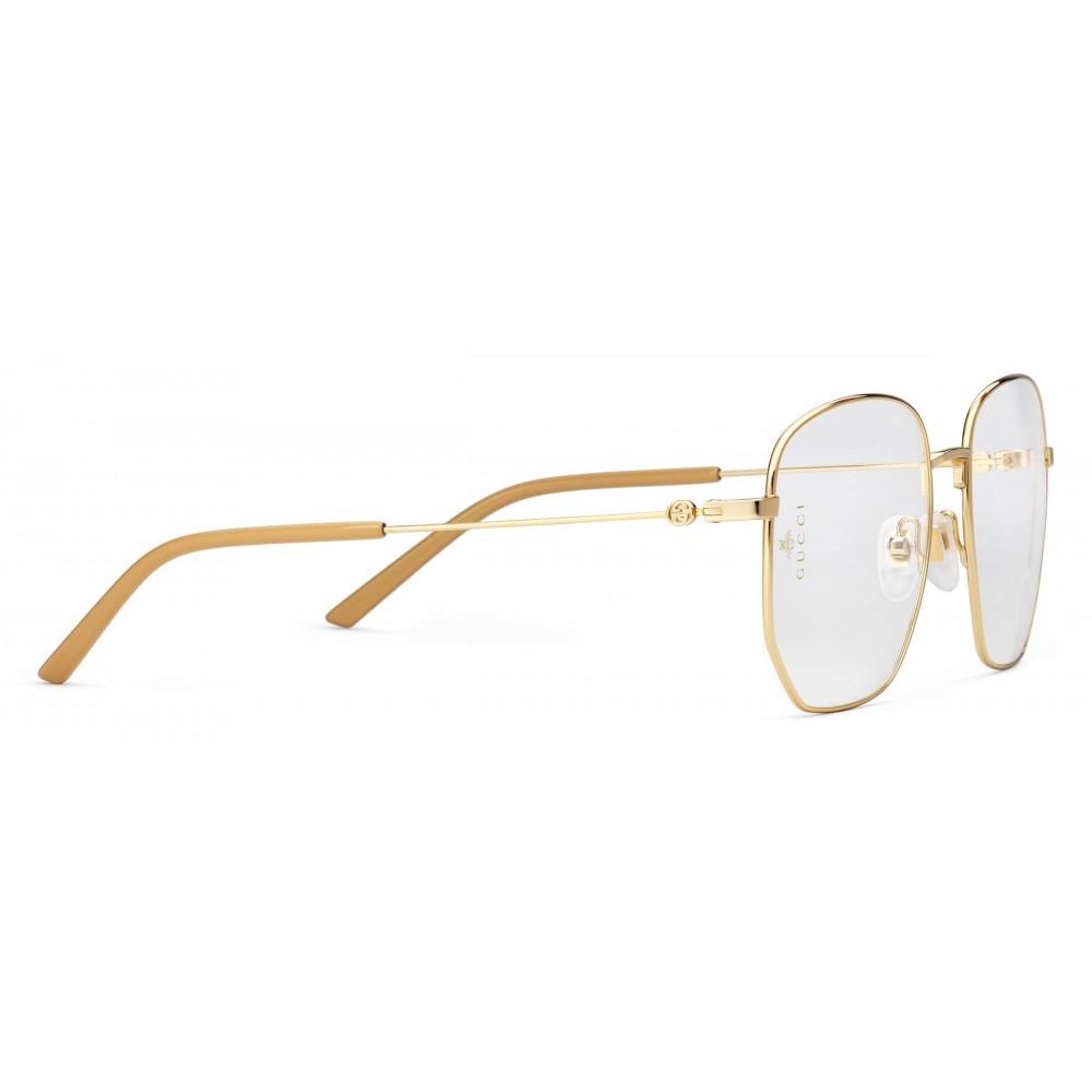 ace42e30b6 ... Gucci - Rectangular Frame Metal Glasses - Gold - Gucci Eyewear ...