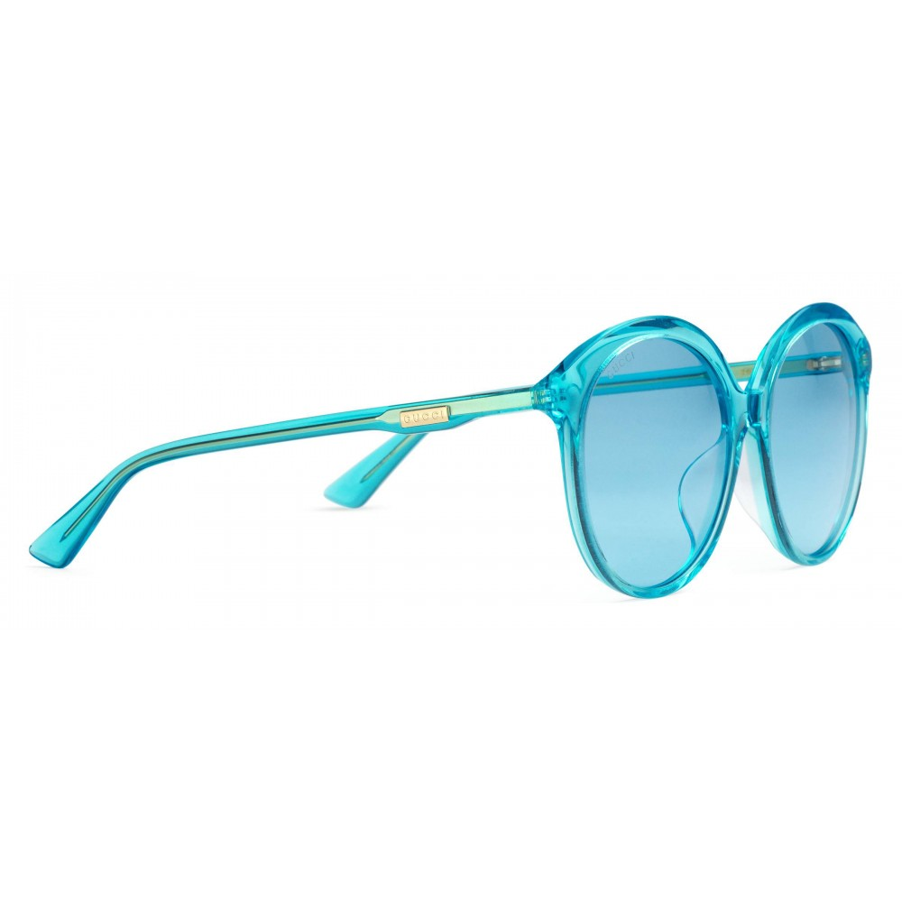 4c0c58082496 ... Gucci - Specialized Fit Round Frame Acetate Sunglasses -Transparent  Blue Acetate - Gucci Eyewear ...