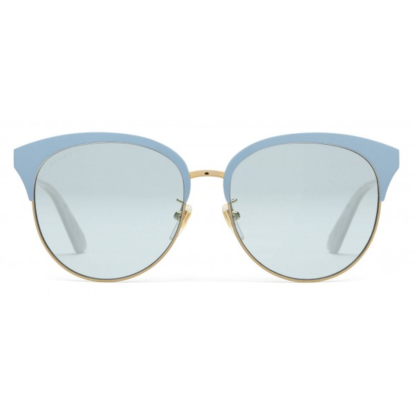 af370383fed Gucci - Specialized Fit Round Frame Metal Sunglasses - Light Blue - Gucci  Eyewear