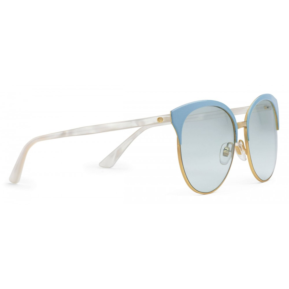 bfded6b4c85 ... Gucci - Specialized Fit Round Frame Metal Sunglasses - Light Blue - Gucci  Eyewear ...