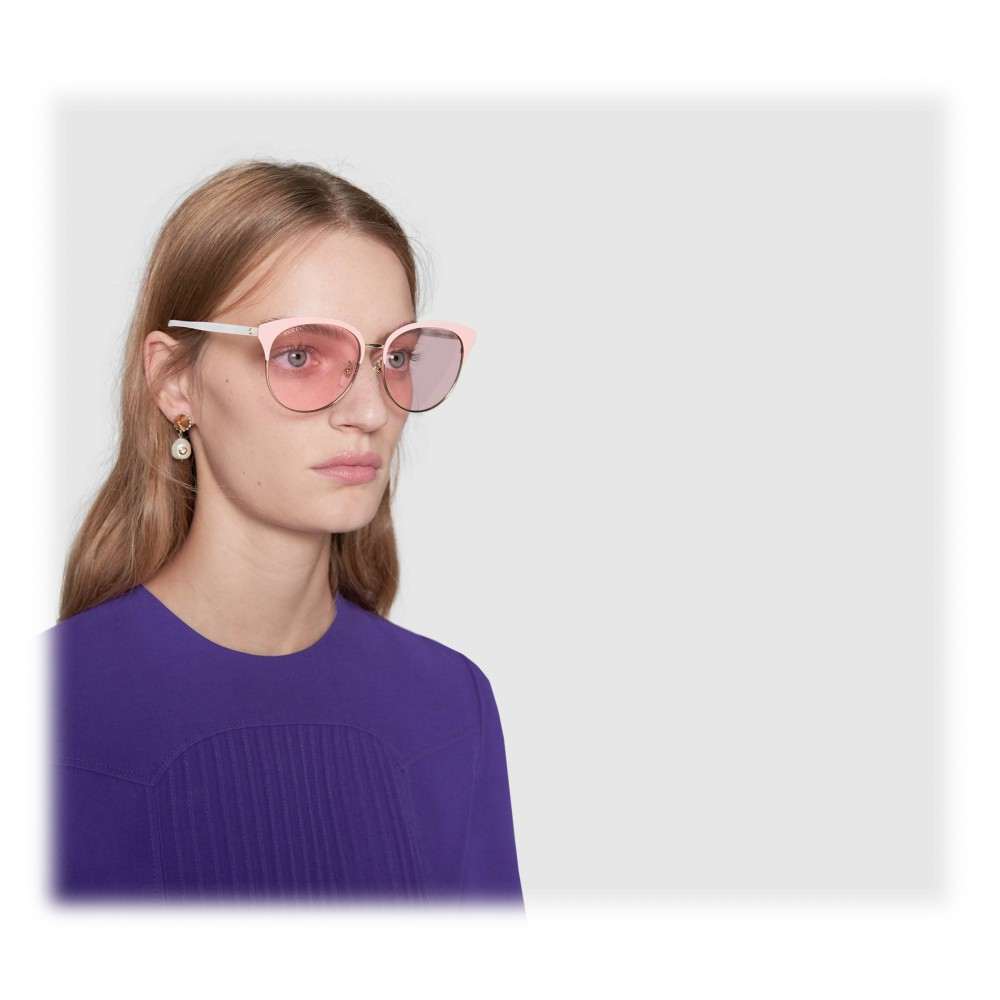 05add03e6 ... Gucci - Specialized Fit Round Frame Metal Sunglasses - Light Pink - Gucci  Eyewear