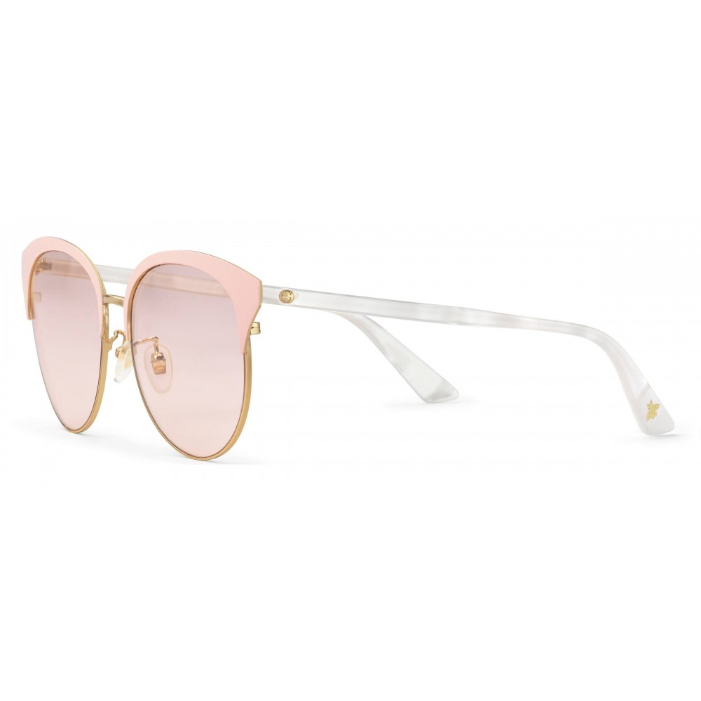 9d371cbe109 ... Gucci - Specialized Fit Round Frame Metal Sunglasses - Light Pink - Gucci  Eyewear ...