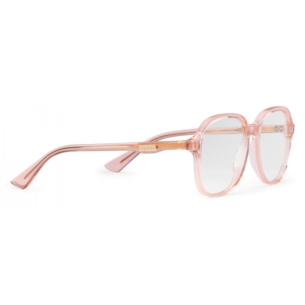 240cf5a3287 ... Gucci - Round Frame Acetate Glasses - Transparent Peach Acetate - Gucci  Eyewear ...