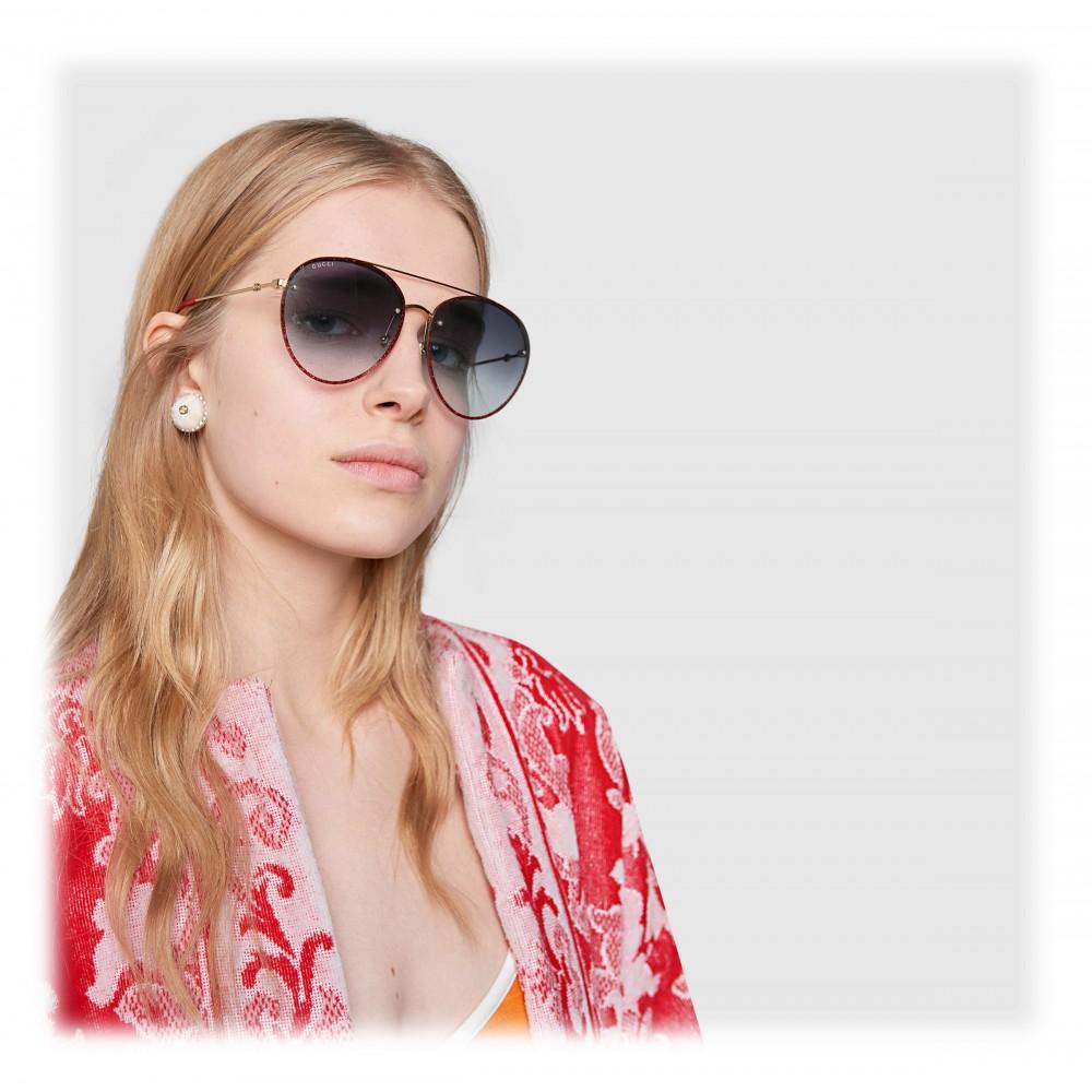 6313ad145 ... Gucci - Aviator Metal Sunglasses - Gold with Glitter Detail - Gucci  Eyewear