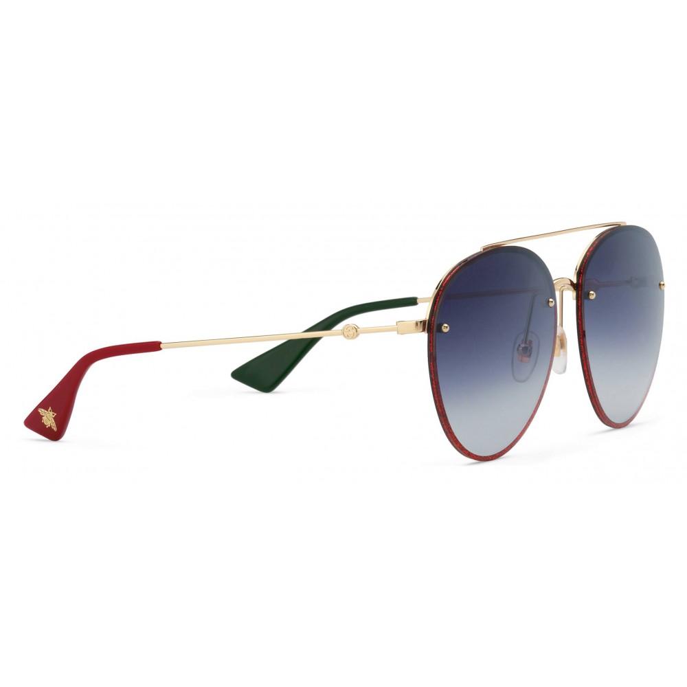 cb74beae8 ... Gucci - Aviator Metal Sunglasses - Gold with Glitter Detail - Gucci  Eyewear ...