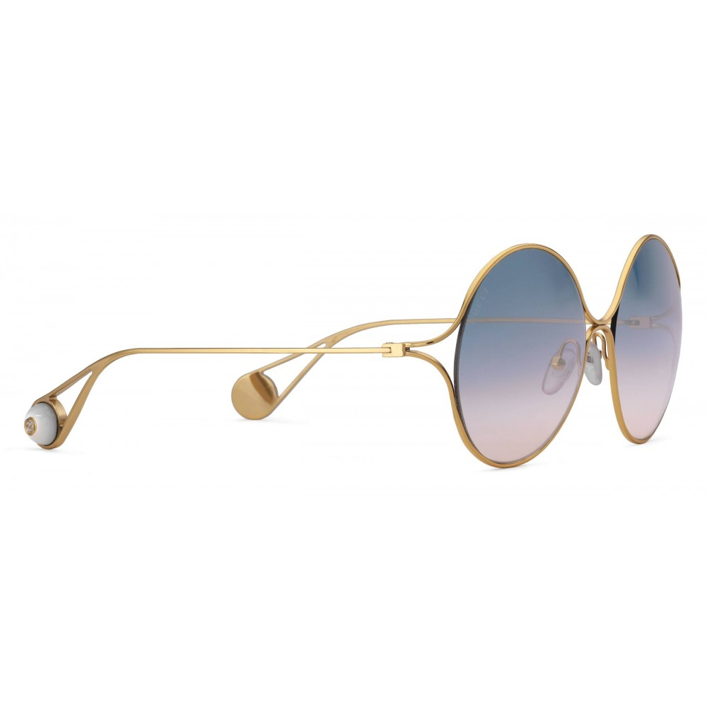 44db3e1ac3987 Gucci - Round Frame Metal Sunglasses - Gold Forked - Gucci Eyewear ...