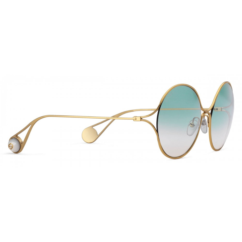 45aa50f7a4 ... Gucci - Round Frame Metal Sunglasses - Gold Forked Pink and Green - Gucci  Eyewear ...