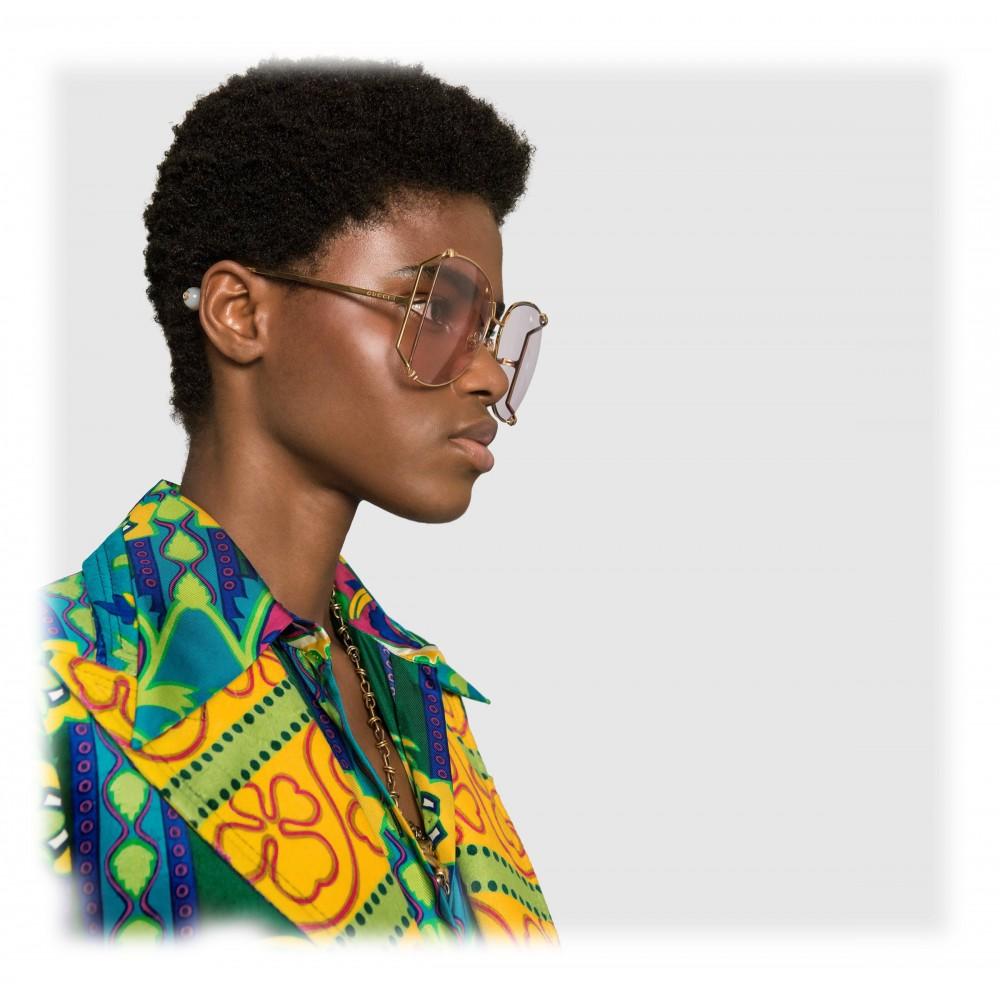 5f4e4edb340 ... Gucci - Oversize Round Frame Metal Sunglasses - Light Pink - Gucci  Eyewear