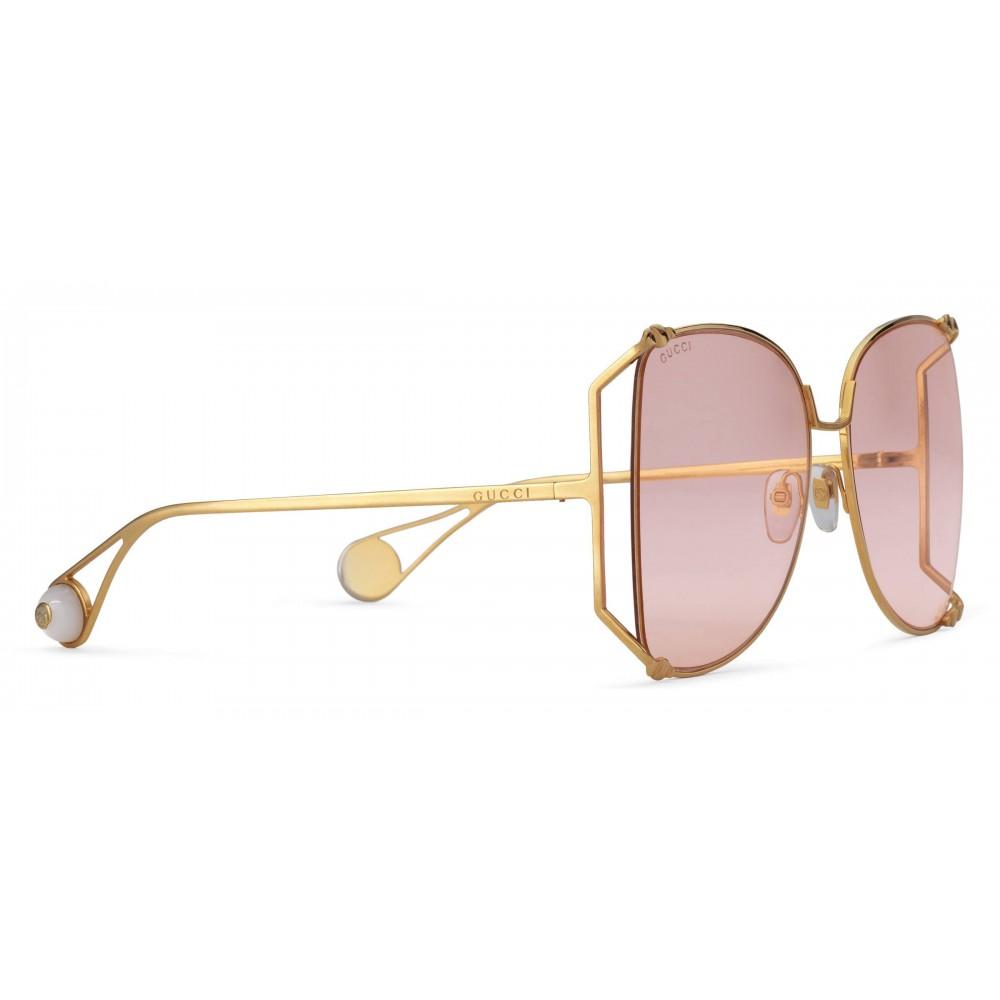 3d3a9cdde ... Gucci - Oversize Round Frame Metal Sunglasses - Light Pink - Gucci  Eyewear ...