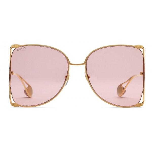 7de53b2058 Gucci - Oversize Round Frame Metal Sunglasses - Light Pink - Gucci Eyewear