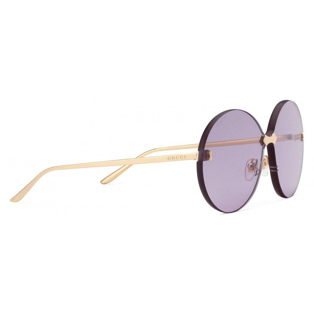 0b4a8f955b536 ... Gucci - Round Frame Rimless Sunglasses - Gold Purple - Gucci Eyewear ...