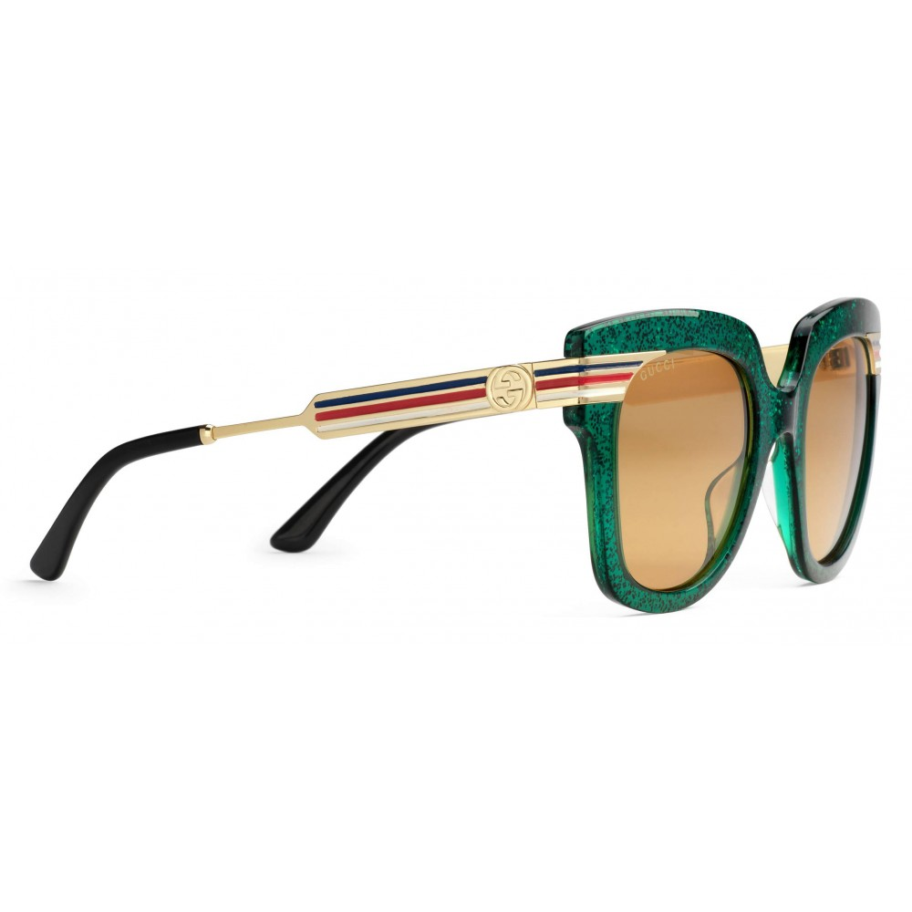 60b12395b90 ... Gucci - Square Frame Acetate Sunglasses Glitter - Emerald Green Glitter  Acetate and Gold - Gucci ...