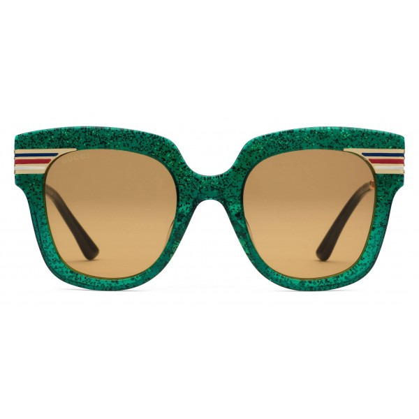 5a7e60219ba Gucci - Square Frame Acetate Sunglasses Glitter - Emerald Green Glitter  Acetate and Gold - Gucci