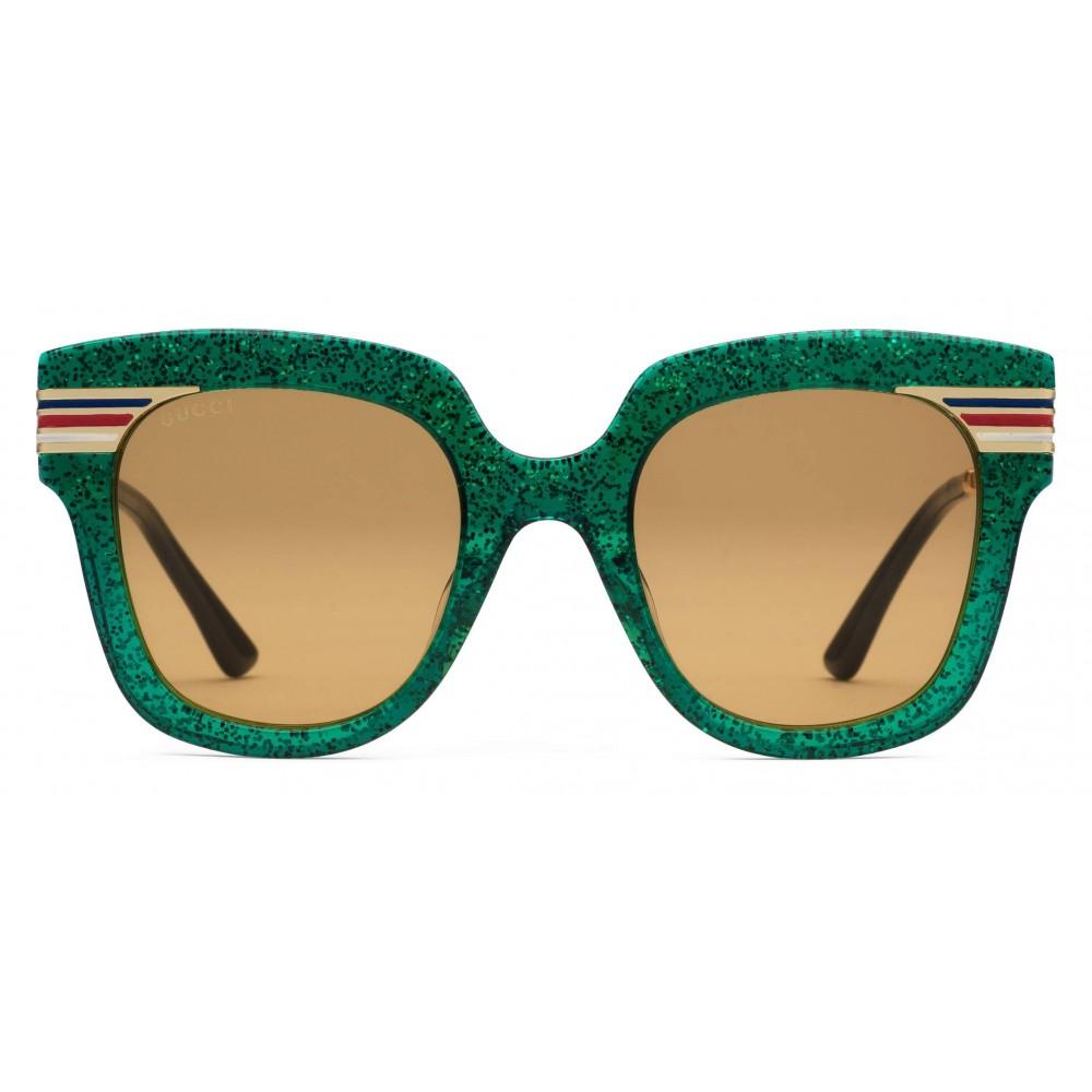 b6262bb364df Gucci - Square Frame Acetate Sunglasses Glitter - Emerald Green Glitter  Acetate and Gold - Gucci ...
