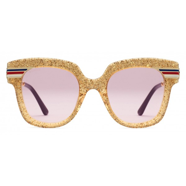 ac6e5d4c6bf Gucci - Square Frame Acetate Sunglasses Glitter - Gold Glitter Acetate and  Gold - Gucci Eyewear