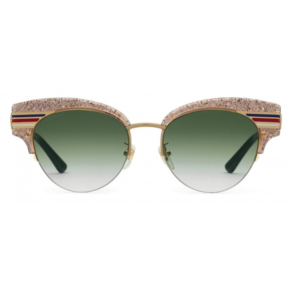 793db23b93f Gucci - Cat Eye Glitter Acetate Sunglasses - Beige Glitter Acetate and Gold  Metal - Gucci