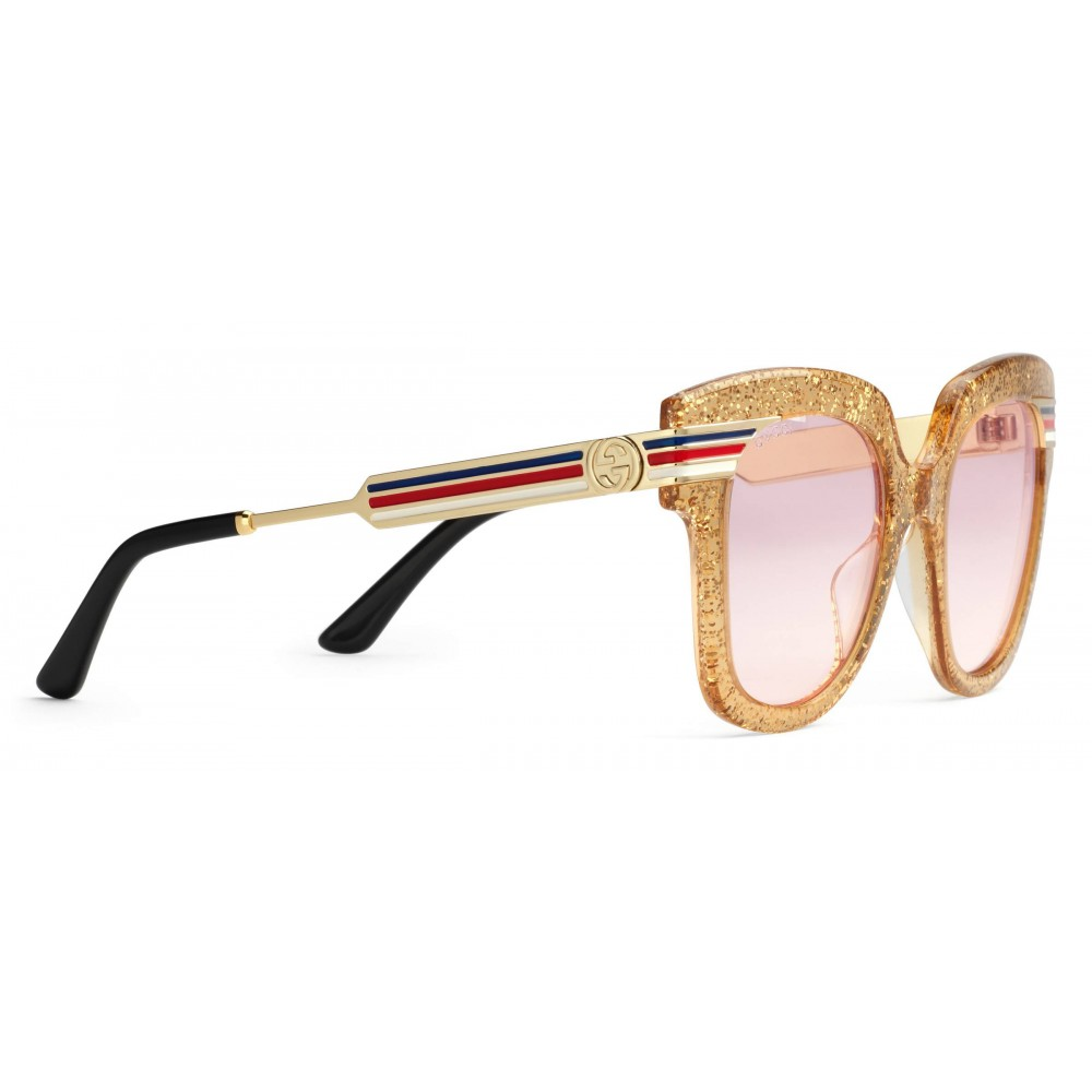7985222dfbc ... Gucci - Square Frame Acetate Sunglasses Glitter - Gold Glitter Acetate  and Gold - Gucci Eyewear ...