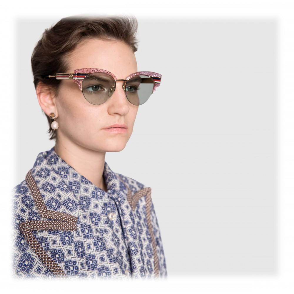 aa2fa22eff8 ... Gucci - Cat Eye Glitter Acetate Sunglasses - Pink Glitter Acetate and  Gold Metal - Gucci