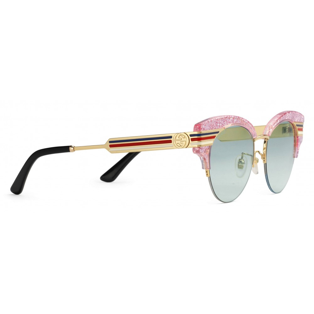 7a31c79b172 ... Gucci - Cat Eye Glitter Acetate Sunglasses - Pink Glitter Acetate and  Gold Metal - Gucci ...