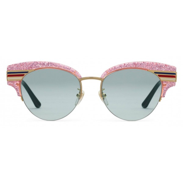 ab8ac98179c Gucci - Cat Eye Glitter Acetate Sunglasses - Pink Glitter Acetate and Gold  Metal - Gucci
