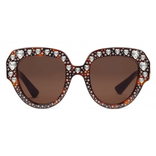 ccfbb48411 Gucci - Square Frame Acetate Sunglasses with Heart Crystalss -Tortoiseshell  Acetate - Gucci Eyewear