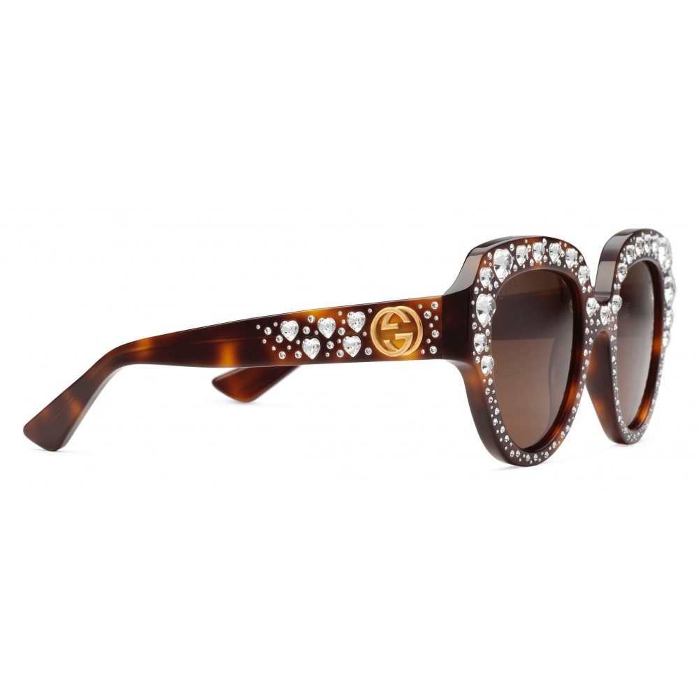 f50038d831 Gucci - Square Frame Acetate Sunglasses with Heart Crystalss ...