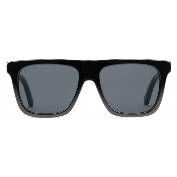 0bb38915b4 Gucci - Rectangular Frame Acetate Sunglasses - Black Acetate Grey Lens - Gucci  Eyewear