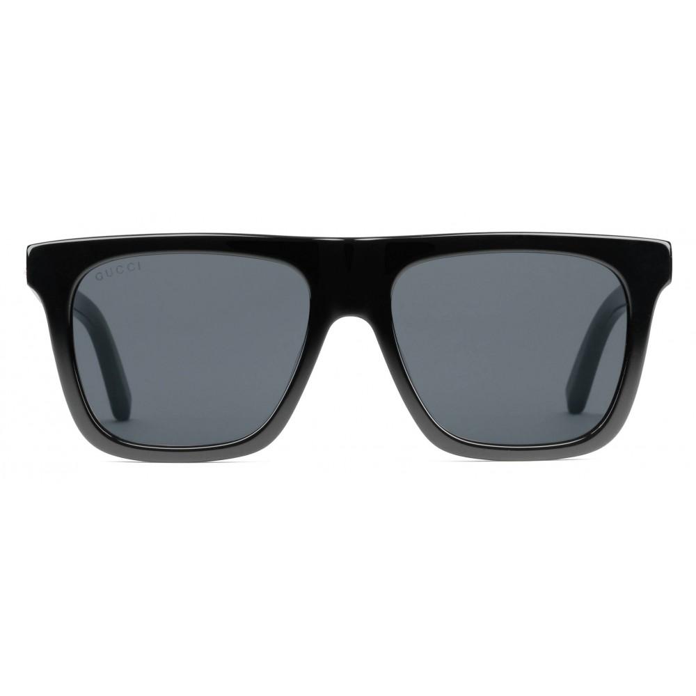 bdbe62354 Gucci - Rectangular Frame Acetate Sunglasses - Black Acetate Grey Lens - Gucci  Eyewear ...