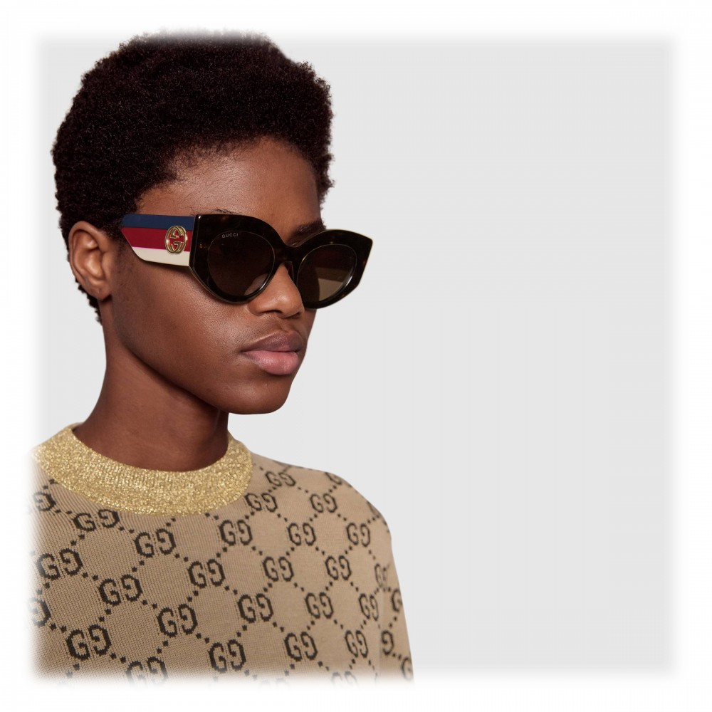 8a5641b3d19 ... Gucci - Oversize Cat Eye Acetate Sunglasses - Sylvie Web Acetate - Gucci  Eyewear