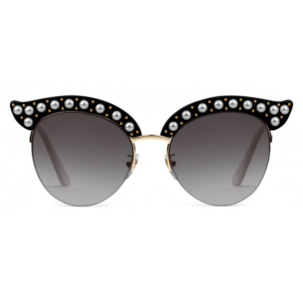 c92addc5c48 Gucci - Cat Eye Acetate Sunglasses with Pearls - Black Acetate - Gucci  Eyewear