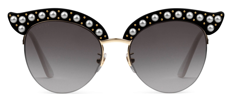 acdf5b840a9 Gucci - Cat Eye Acetate Sunglasses with Pearls - Black Acetate - Gucci  Eyewear - Avvenice